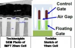 Toshiba 19nm vs. IMFT 20nm NAND Processes (Courtesey Techinsights and Toshiba)