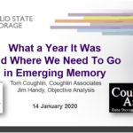 "This shows the cover slide for the SNIA webcast presentation titled ""What a Year it Was and Where We Need To Go in Emerging Memory"""